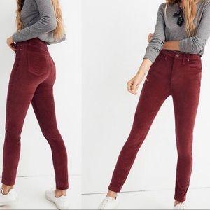 """Madewell 10"""" high rise skinny velvet jeans 33 p"""